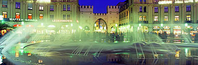 Fountain In Front Of The Karlstor Art Print by Panoramic Images