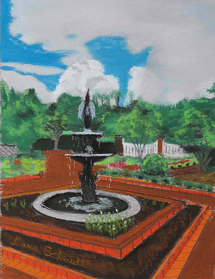 Fountain In Ga Official Botanical Garden At Athens Art Print