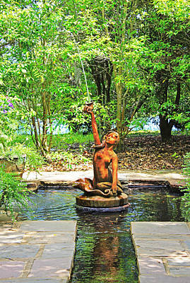 Photograph - Fountain In Garden by Deborah Hughes