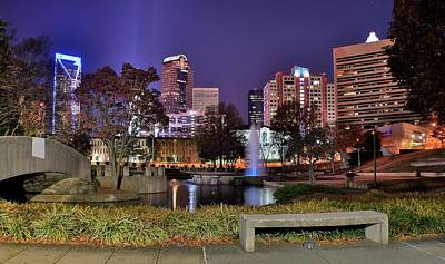 Charlotte Skyline Photograph - Fountain In Marshall Park by Frozen in Time Fine Art Photography
