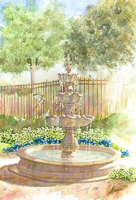 Fountain In Morning Light II Art Print by John Dougan