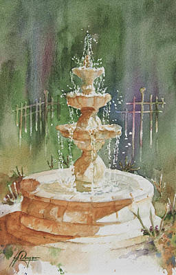 Fountain In Morning Light Original by John Dougan