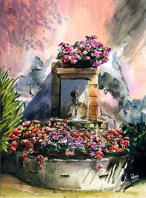 Fountain In Moustier-st-marie Art Print by Ivo Depauw