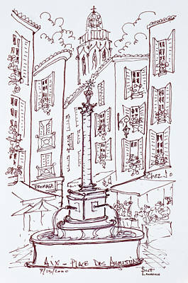 Fountain In Place Des Augustine, Aix En Art Print