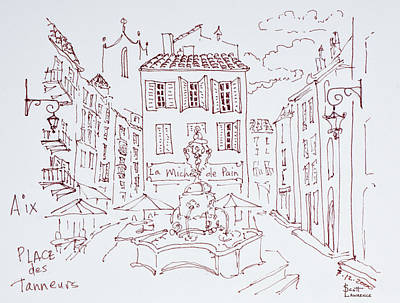 Pen And Ink Drawing Photograph - Fountain In Place Des Tanneurs, Aix En by Richard Lawrence