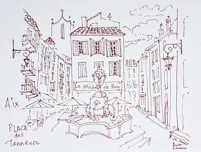 Fountain In Place Des Tanneurs, Aix En Art Print