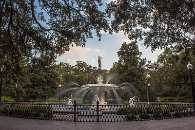 Photograph - Fountain In Square Savannah Georgia  by John McGraw