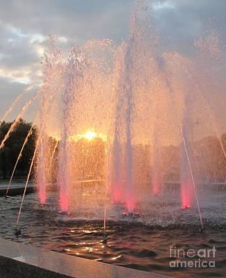 Fountain In Sundown Original