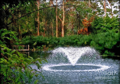 Fountain In The Park 2 Art Print by Kaye Menner