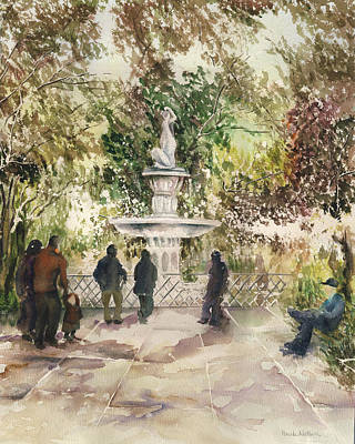 Painting - Fountain In The Park by Paula Nathan
