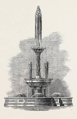Hong Kong Drawing - Fountain In The Public Garden Hong Kong 1867 by English School