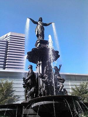 Fountain Of Cincy Art Print by Teresa Banks