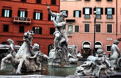 Fountain Of Neptune Art Print by John Rizzuto