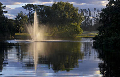 Fountain On Golf Course Art Print by M Cohen