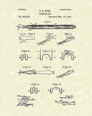 Drawing - Fountain Pen 1889 Patent Art by Prior Art Design