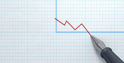 Financial Digital Art - Fountain Pen Drawing Declining Graph by Allan Swart