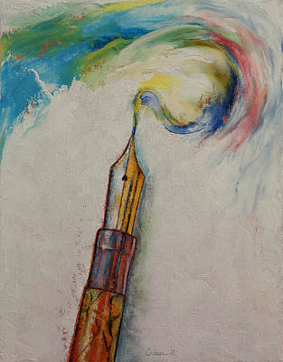 Explosions Painting - Fountain Pen by Michael Creese
