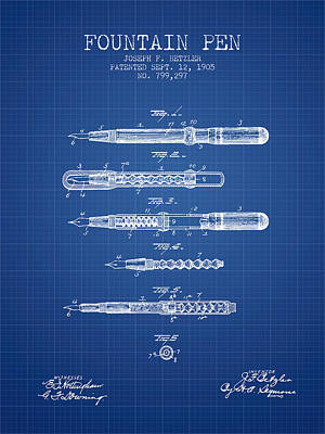 Fountain Pen Patent From 1905 - Blueprint Art Print by Aged Pixel