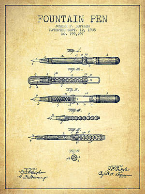 Writing Digital Art - Fountain Pen Patent From 1905 - Vintage by Aged Pixel