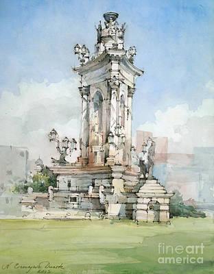 Painting - Fountain- Placa D' Espanya - Barcelona by Natalia Eremeyeva Duarte