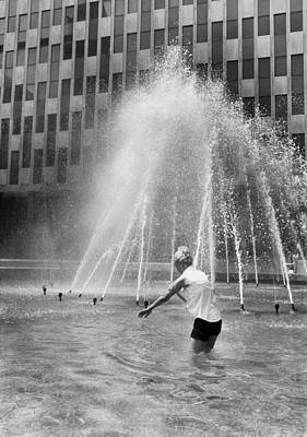 Hot Weather Photograph - Fountain Relief by Underwood Archives