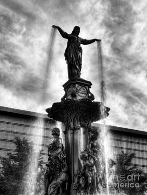 Photograph - Fountain Square In Cincinnati Bw by Mel Steinhauer