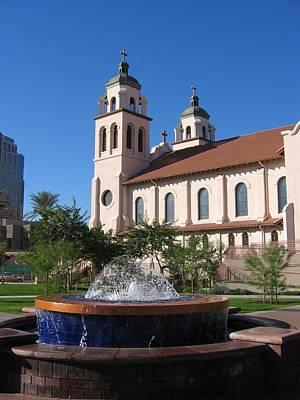 Digital Art - Fountain St Marys Basilica by Doug Morgan
