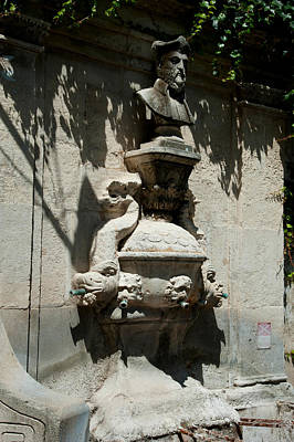 Nostradamus Photograph - Fountain With The Bust Of Nostradamus by Panoramic Images