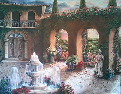 Villa Painting - Fountained Courtyard by Susan Frech-Sims