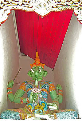 Four-armed Figure At Wat Phrathat Doi Sutep In Chiang Mai-thaila Print by Ruth Hager