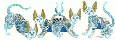 Bastet Drawing - Four Asian Porcelain Cats by Jennifer  Anne Esposito