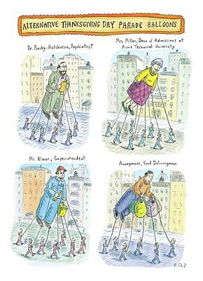 Four Balloons Of Various Unknown People Art Print by Roz Chast