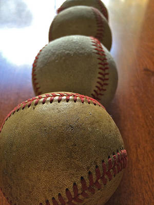 Photograph - Four Baseballs by Bill Owen