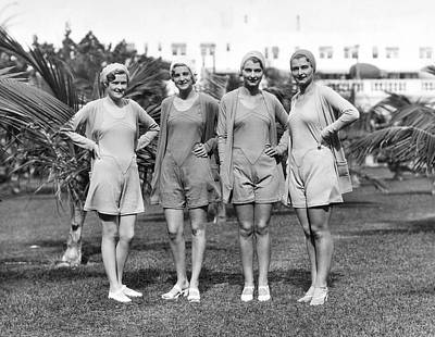 Fashion Show Photograph - Four Bathing Suit Models by Underwood Archives