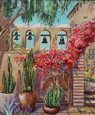 San Juan Capistrano Painting - Four Bells And Swallows At Mission San Juan Capistrano by Jan Mecklenburg