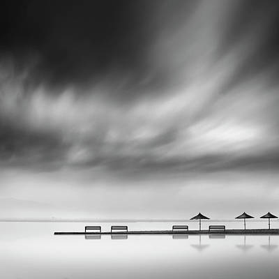 Beach Umbrella Wall Art - Photograph - Four Benches And Three Umbrellas by George Digalakis