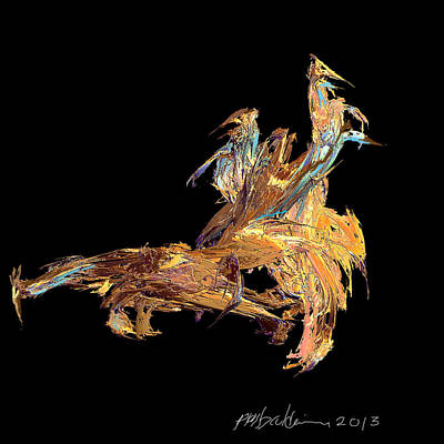 Digital Art - Four Blue Birds At The Races by Patrice Baldwin