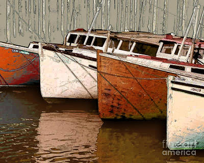 Photograph - Four Boats In Bronze by Lee Owenby