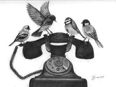 Drawing Drawing - Four Calling Birds by J Ferwerda