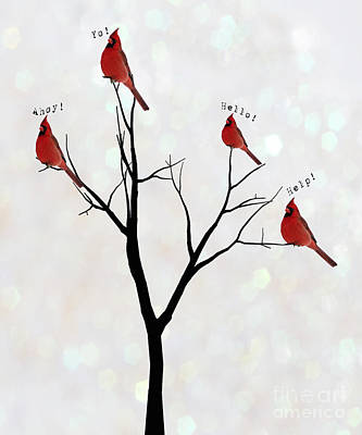 Four Calling Birds Art Print by Juli Scalzi