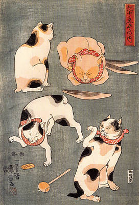 Wood Blocks Painting - Four Cats In Different Poses By Kumyashi Utagawa by Philip Ralley