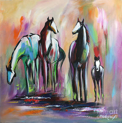 Colorful Abstract Painting - Four by Cher Devereaux