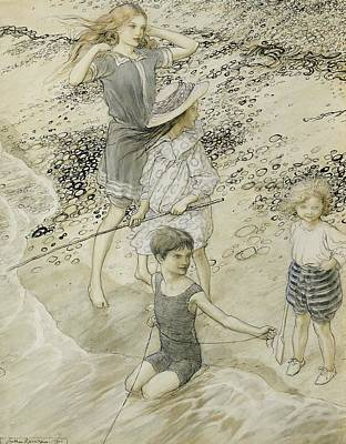Rod Drawing - Four Children At The Seashore by Arthur Rackham