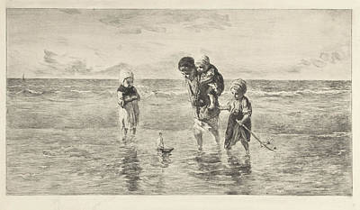 Four Children Playing With Toy Boat On The Beach In Shallow Print by Artokoloro
