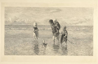 Four Children Playing With Toy Boat On The Beach In Shallow Art Print by Carel Lodewijk Dake And A. Salmon & Ardail And Frans Buffa En Zonen