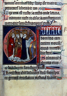 Psalter Painting - Four Clerics Chanting by Granger