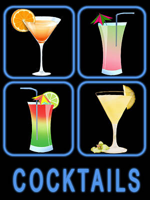 Cocktail Lounge Painting - Four Cocktails In Blue Neon by Elaine Plesser
