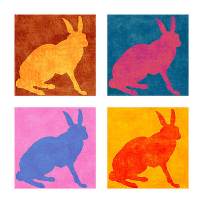 Dramatic Digital Art - Four Colorful Rabbits by Carol Leigh