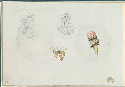 Four Costume Design Sketches Art Print by Anonymous, French, 18th century