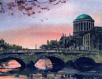Law Courts Painting - Four Courts Dublin by Val Byrne
